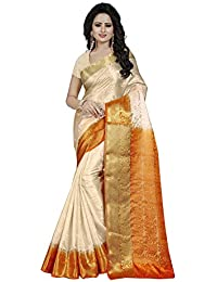 Nirja Creation Women'S Cotton Silk Saree With Blouse( Madhuri ) (Orange)