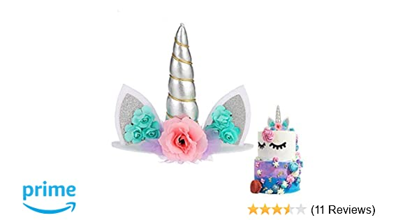 Unicorn Cake Topper Handmade Flowers Unicorn Horn Ears Happy Birthday DIY  Glitter Birthday Cupcake Topper Candle Party Decoration for Baby Shower