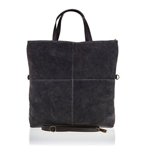 Firenze Artegiani Bolso Shopping Bag de Mujer en Piel auténtica, Acabado Gamuza, 35 cm, Gris Oscuro