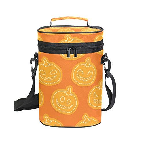 DEZIRO Picknick Wein Kühltasche Halloween Kürbis Gesichter inkl. Weinflasche Tragetasche 2 Stück Wein Reise Tasche (Halloween In Die Kürbis Gesichter Einen Für)