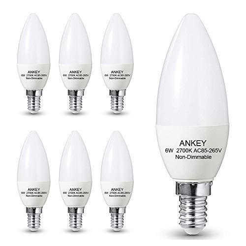 Lampadina a Candela E14 LED 6W sostituisce 60 W,Luce Bianca Calda (2700K), 600lm, CRI80+, Non Dimmerabile, 6 Pezzi