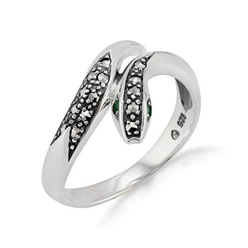 Gemondo Jugendstil Schlangenring, Sterlingsilber 0.04ct K Smaragd & Markasit Ring (58 (18.5))