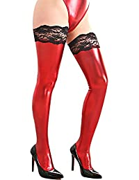 e0e606cb6 Sexy Women s Wet Look PU Leather Thigh High Stockings With Lace Trim  Stay-Up Black Metallic Hold Up Stockings…