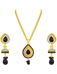 Sukkhi Sparkling Gold Plated AD Pendant Set For Women