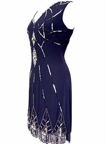 Damen 1920's Vintage Stil Charleston Flapper Gatsby Abbey Fransen Perlen Pailletten Shift Kleid Blau - Blau