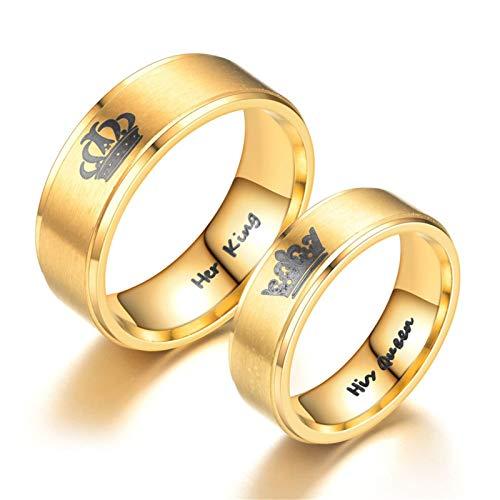 AnazoZ Unisex Paar Ringe Partnerringe Verlobungsring 1 Paar Gravierter Kronen Ring Her King & His Queen Edelstahl Gold 8MM Freundschaftsringe Eheringe (Torten Tag Kostüm)