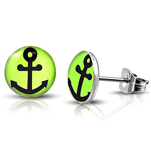 bungsa® Anker orecchini nero giallo fluo verde argento 7mm-1paio di acciaio inossidabile (-Orecchini pendenti con Anchor Marine orecchini placcati uomo donne donna mode Studs Earrings)