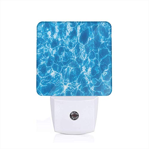 Sun 3-zoll-pool (Water Swimming Pool Surface With Sun Reflection Sea Ocean Inspired Image Plug-in LED Night Light Lamp with Dusk to Dawn Sensor, Night Home Decor Bed Lamp)