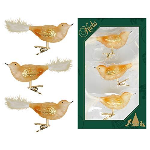 Krebs Glas Lauscha - Gold transparent - Vögel auf Clip aus Glas - Christbaumschmuck - Glasschmuck - 3 Stück - 11 cm
