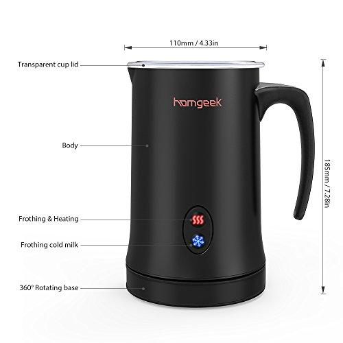 Homgeek Montalatte, Montalatte elettrico per liquidi con funzioni di latte caldo e freddo Funzionamento silenzioso, 150ml 500W, rivestimento antiaderente - 7