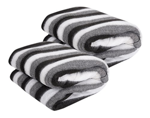 Krystle Black and White Stripe Single Bed Ac Fleece Blanket (Size :Single :60X90 Inch) Pack of 2