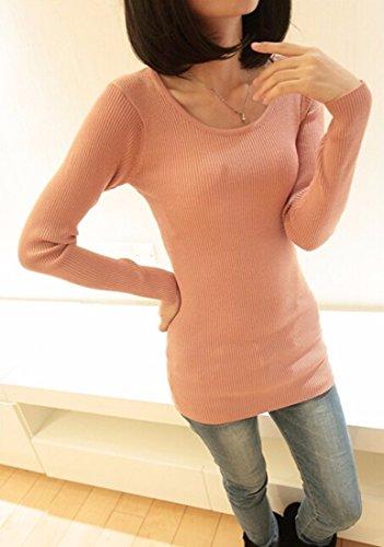 ... Mode fuer Frauen Langarm hohe Kragen Base Knitter Schlank verdicken  Pullover Tops Leder Rosa ...