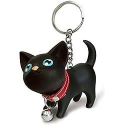 Internet Llavero del gato amante del juguete de los anillos de llavero para el bolso (Negro)
