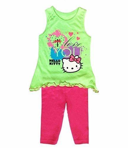 Hello Kitty Kinder Tunika und Leggings Kostüm Grün - Grün, Grün, ()