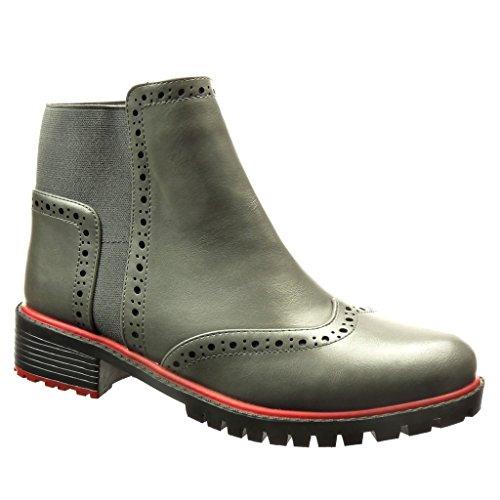 Angkorly - Scarpe da Moda Stivaletti - Scarponcini scarpa derby chelsea boots donna perforato Tacco a blocco 3.5 CM - Grigio 1011 T 39