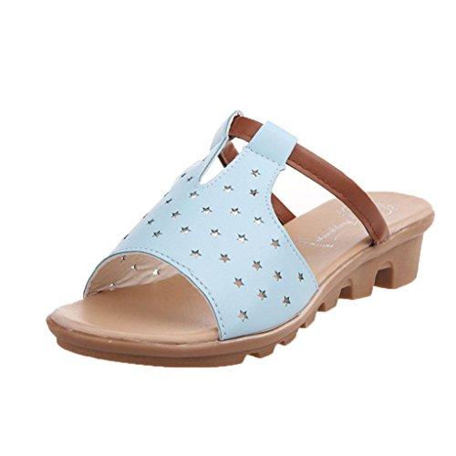 Hunpta Frauen weiblich Sandalen Fashion Solid Sommerstrand gleitet Hausschuhe Schuhe Blau