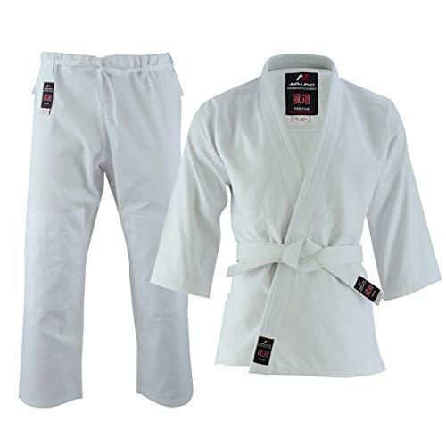 Judo Uniform (Malino Judo Gi Anzug für Kinder & Erwachsene, weißer, kostenloser Gürtel, Herren-Judo-Uniform aus Leichter Baumwolle und Poly-Baumwolle (Baumwolle, 00/120))