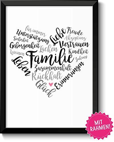 Familie Geschenke Bild mit Rahmen Geschenkidee zum Vatertag Muttertag Geburtstag Hochzeitstag Ostern für Eltern Mama Papa Mutter Vater Danksagung