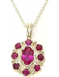 Unusual Luxury Ladies Solid White 9ct Gold Natural Ruby Pendant Necklace with English Hallmarks
