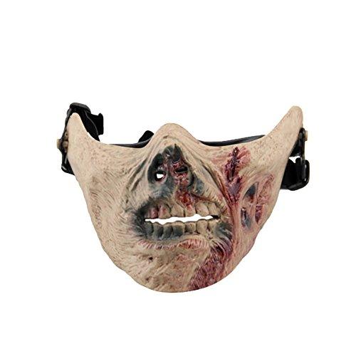 dfahren Schutz Zombie Halloween Cosplay Tactical Half Face Maske ()