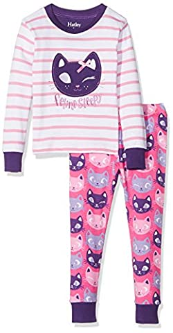 Hatley Long Sleeve Appliqué Sets, Pyjamas Fille, White (Silly Kitties), 10 Ans
