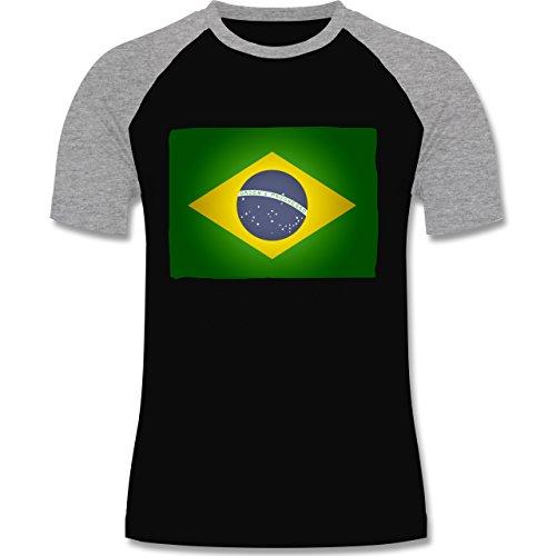 Länder - Flagge Brasilien - zweifarbiges Baseballshirt für Männer Schwarz/Grau Meliert