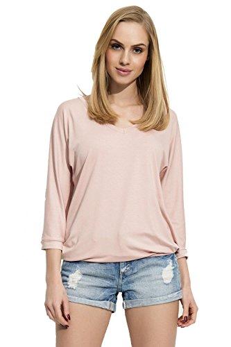 Damen Basic Langarm Bluse Shirt Oberteil V-Ausschnitt Gr. S M L XL Puderrosa