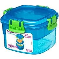 Sistema de recipientes para el almuerzo o aperitivos, 400 ml, plástico, Azul, 11.1 x 11.1 x 7.2 cm