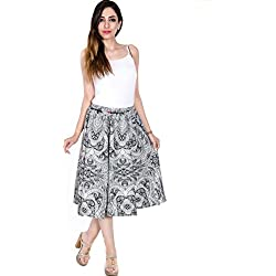 Teej Girl's Black White Monochrome Printed Short Knee Length Skirt - Free Size