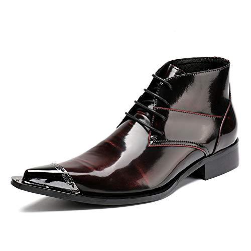 Mitte Kalb Casual Stiefel (Hmboots Herren Stiefeletten Cowboy Stiefel Schnüren Lederschuhe Klassisch Rote Abend Party Kleiden,Red,EU43/UK9)
