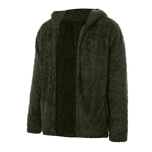 MEIbax Herren doppelseitige Plüsch Mantel Herbst Winter beiläufige lose Hoodie Wollmantel Kunstpelz Jacke Fleecemantel
