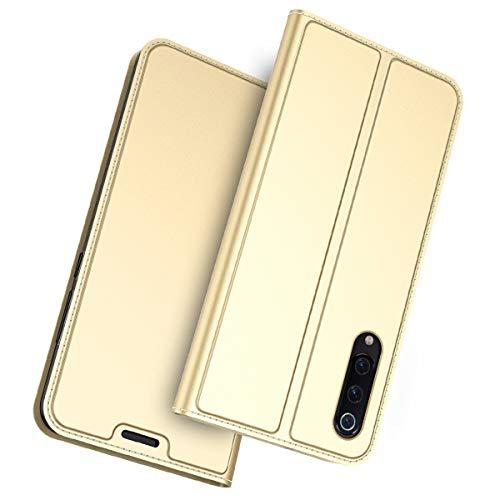 FugouSell Funda Xiaomi Mi 9 SE, Carcasa Flip PU Libro Bumper TPU Transparente Antigolpes Case Leather Cover para Xiaomi Mi 9 SE (Dorado)