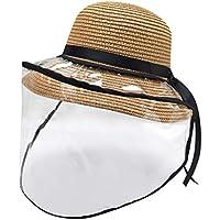 NINGNETI Sombrero Gorra Protector Anti-Saliva Cubierta A Prueba De Polvo Niños Niñas Tapa De Pescador Tapa Cap Facial Visera Transparente NS-0330A11 (Caqui)