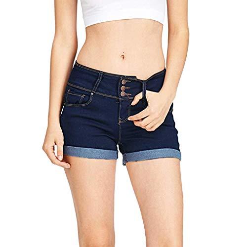 MOIKA Jeans Femme Dechire Couleur Unie Casual Jeans Taille Haute Skinny Short en Jean Grande Taille Bermuda Ete Pas Cher Pantalon E