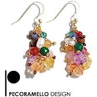 orecchini artigianali pendenti con pietre dure, perle di fiume e ganci in argento. Regalo speciale donna