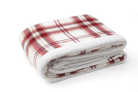Catherine lansfield home kelso couverture tartan à carreaux crème 150 x 200 cm