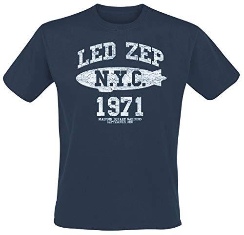 Générique LED Zeppelin NYC 1971 T-Shirt Manches Courtes Bleu L