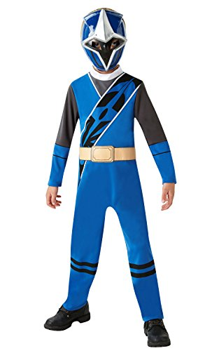 Blue Ranger - Ninja Steel - Power Rangers - Kostüm für Kinder - Groß - 128cm - Alter 7-8