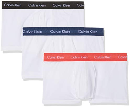 Calvin Klein Herren 3p Low Rise Trunk Boxershorts, Weiß (W-Black/Cayenne/Airforce Wb Wzq), Large (erPack 3) -