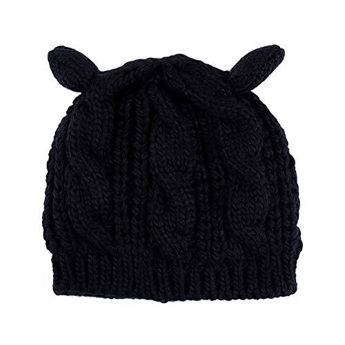 Kabel Stricken Baumwolle Hut (VORCOOL Stricken Katze Ohr Hut niedlich Winter warme Mütze Caps für Frauen Mädchen (schwarz))