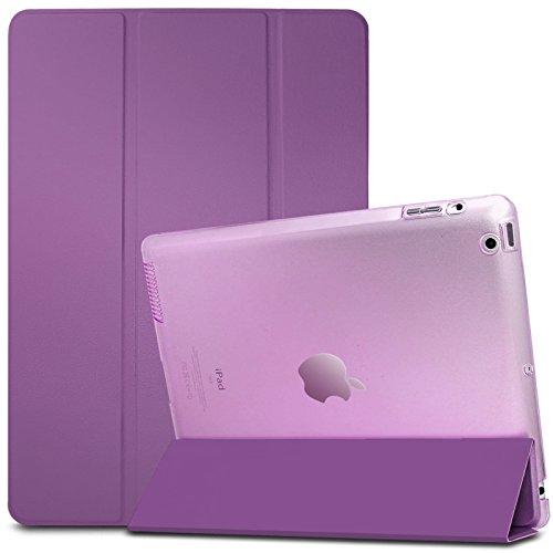 iPad 2 3 4 Funda Case-Infiland Ultra Delgada Tri-Fold Smart Case Cover PU Cuero Smart Cascara con Soporte para Apple iPad 2,iPad 3, iPad 4(con Auto Reposo / Activación Función)(Transparente Púrpura)