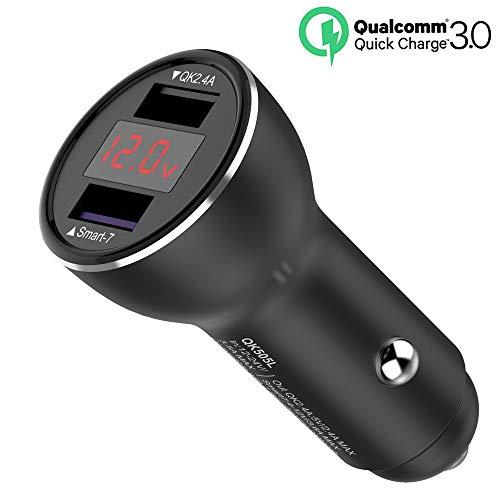 Quick Charge 3.0 Caricabatteria per auto, Caricabatteria da auto Dual USB da 30W Caricabatterie rapido, con display di tensione, per iPhone XS / XR / XS Max / 8/8 Plus, Ipad Samsung Galaxy Not
