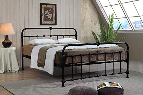 Mandy Double Metal Bed Frame Black Hospital Style Small Double King Size Beds (4FT Small Double)
