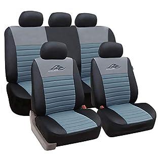 eSituro universal Sitzbezüge für Auto Schonbezug Schoner Komplettset schwarz/grau SCSC0118
