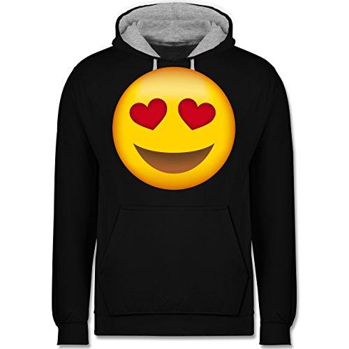 Comic Shirts - Verliebter Emoji - Kontrast Hoodie Schwarz/Grau Meliert