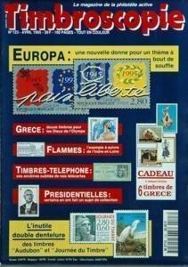 TIMBROSCOPIE N? 123 du 01-04-1995 europa, nouvelle donne pour un theme a bout de souffle - grece, 12 timbres pour les dieux de l'olympe flammes , l'exemple a suivre de l'indre-de-loire timbres-telephone presidentielles l'inutile double dentelur par Collectif