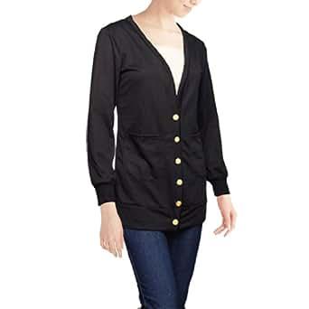 sourcingmap® Ladies Gold Tone Button Front Open Black Long Sleeve Sweatshirt M