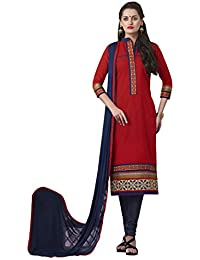 Kvsfab Women's Cotton Readymade Salwar Suit Straight Cut Style, Red