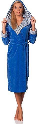 Merry Style Femmes Velours Peignoir de Bain avec Capuche Penelope Bleu