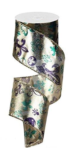6,3cm X 10Meter GOLD Lamé violett und grün Fleur de Lis Print Band: Mardi Gras - Gras Lis-mardi Fleur De